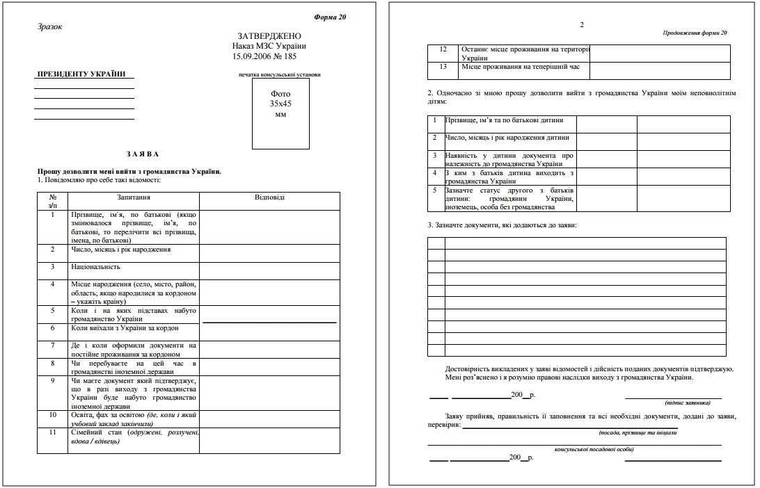 Выход из гражданства украины документы и процедура 2019
